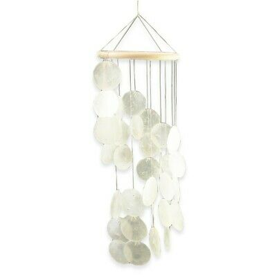 40cm x 15cm Capiz Shell Mobile Wind Chime with White Mother of Pearl Shells