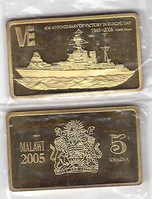 Malawi - Rare Rectangular 5 Kwacha Unc Coin 2005 Year Km#64 Ship Hood