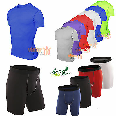 Mens Compression Shirt STRETCH Armour Base Layer Shorts Top Thermal Skins Pant