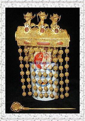 China Emperor Hat Hairpin Coronet Gold 5Dragon Statue 35Agate Bead Hat Crown950G