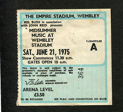 1975 Elton John Beach Boys Eagles concert ticket stub Midsummer Music London UK