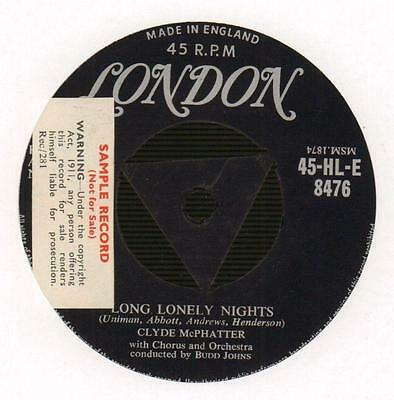 """Clyde Mcphatter(1st Issue 7"""" Vinyl)Long Lonely Nights / Heartaches-Lond-Ex/Ex"""