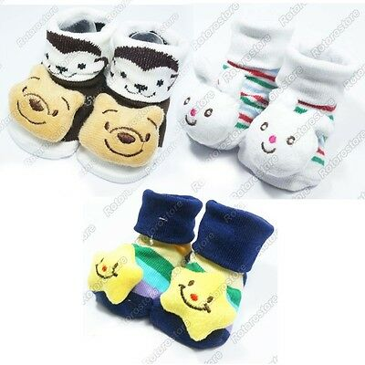 3x Newborn Baby Boys Anti Slip Socks Kids Infant Feet 0-24mth Bear Rabbit Star