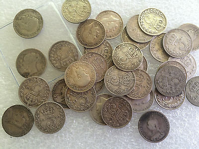 1 oz  silver threepence 3d mixed  three pence coin pre 1920
