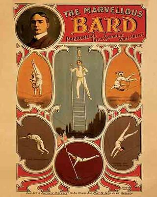 Vintage Antique Rare  POSTER   BARD   Highwire Trapeze  Carnival Circus   1910's