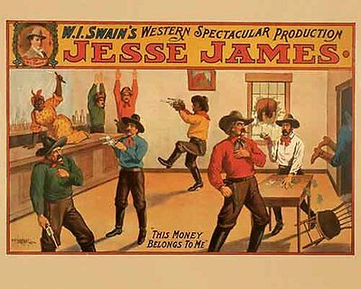 Vintage Antique Rare  POSTER  Jesse James  Western  Show  Circus Event   1910's