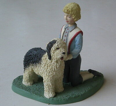 Vintage Old English Sheepdog With Friend Being Groomed Figurine