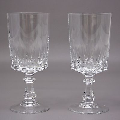 Set of 2 Water Goblets Cristal D'arques Durand Louvre Glass 24% Lead Crystal Lot