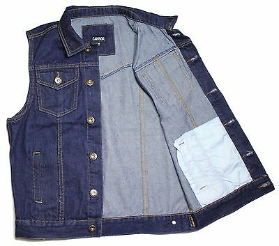 Vest dk.Blue Denim jean biker motorcycle jacket Sleeveless men's.