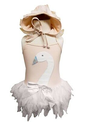 StylesILove Little Swan Ruffled Ballerina Girl Swimsuit and Hat, Light Pink