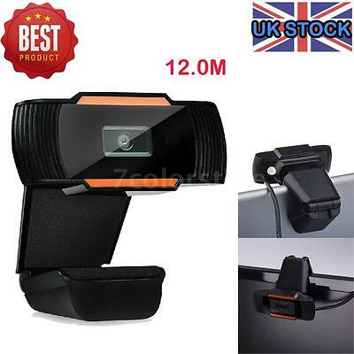 UK Stock USB Clip-on Webcam Camera HD 12.0 MP Megapixels with MIC for Computer