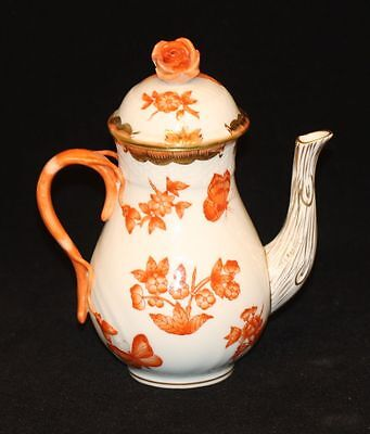 Herend Fortuna Butterfly Rust Demitasse Teapot Coffee Pot w Rose Finial Lid 1614