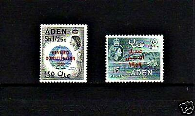 Aden - 1959 - Qe Ii - Revised Constitution - Mint - Mnh - Set Of 2!