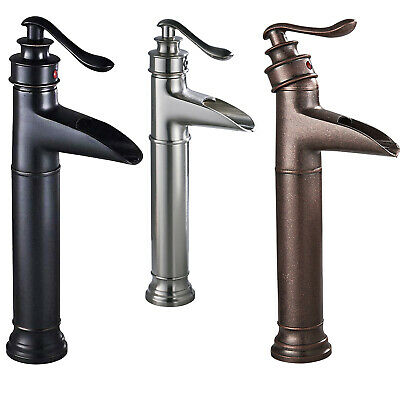 Bathroom Sink Vessel Faucet Oil Rubbed Bronze Waterfall One Hole Basin Mixer Tap
