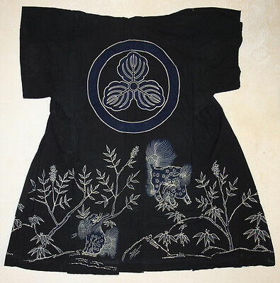 "Incredibly Beautiful Indigo ""Tsutsugaki""Japanese Kimono from over 100 years ago"