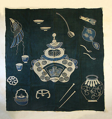 Japanese Antiques- Indigo Tsutsugaki Cloth from 19th century