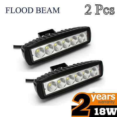 2x 18W Cree LED Work Light Bar Flood Off-road Driving Lamp 4WD SUV ATV Truck NEW