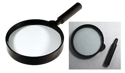 """6"""" Handheld Magnifier with Detachable Handle Plastic Body Heavy Thick Glass Lens"""