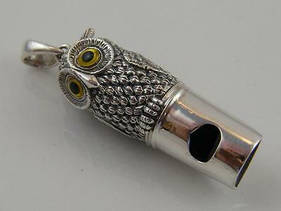 Sterling Silver Chased Owl Whistle/pendant – Glass Eyes