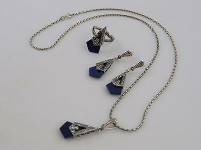 Art Deco Sterling Silver & Lapis Lazuli Jewellery Set