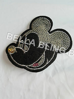 1 Embroidered Mickey Glitter Mouse Iron On Sew On Patch Clothes Craft