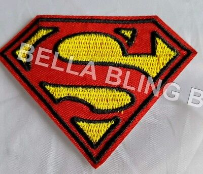 1 Embroidered Yellow Red Superman Iron On Sew On Patch Clothes Craft