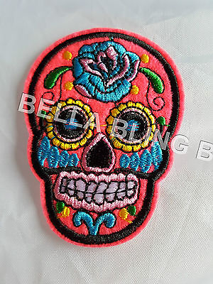 1 Embroidered Girls Pink Skull Iron On Sew On Patch Clothes Craft