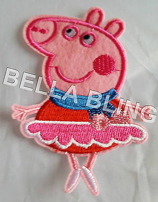 1 Embroidered Fairy Peppa Pig Iron On Sew On Patch Clothes Craft