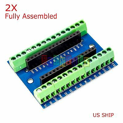 2X Nano Expansion Terminal Adapter For Arduino Nano V3.0 AVR ATMEGA328P-AU Board
