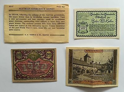 Nice 1919-20 Austrian Notgeld Emergency Money Heller Banknotes Mint Uncirculated