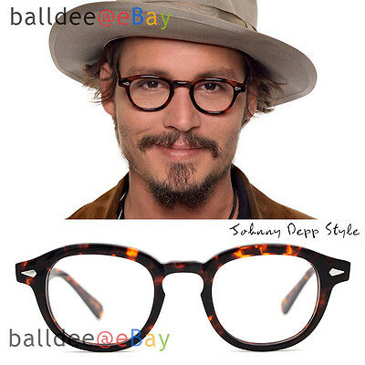 482e1e89b5 VINTAGE Glasses Black Tortoise Johnny Depp Men Women Optical Round Frame  Eyewear
