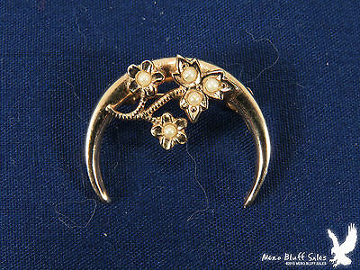 Vintage Crescent Moon Seed Pearl Goldtone Scarf Collar Lapel Pin Brooch