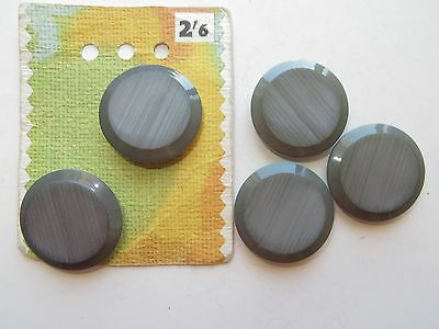1950s Vintage Med Carved Grey Coat Cardigan Collectible Buttons in Card-28mm