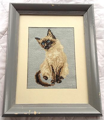 Siamese (?) Cat Petit Point with matting and Grey Frame (678)