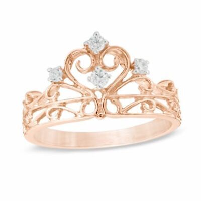 1/10 ct Real Diamond Crown Ring in Sterling Silver with 14K Rose Gold Over
