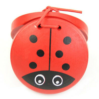 U37 1pc Kid Children Cartoon Wooden Castanet Toy Musical Percussion Instrumen