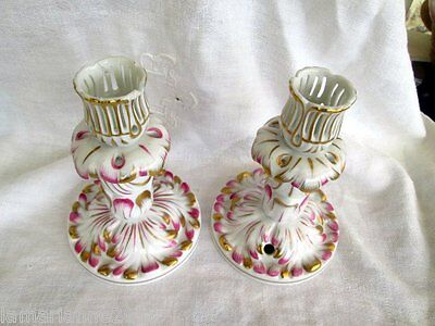 Paire De Bougeoirs Porcelaine Herend Pair Of Candlesticks Hereund Porcelain