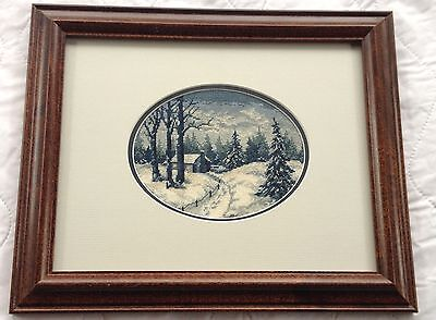 Blue/White Winter Cabin Scene Petit Point Mat & Frame 702