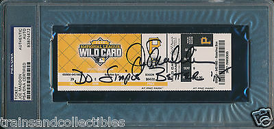 Joe Maddon Signed Cubs Wild Card Ticket Psa/dna Inscribed Do Simple Better '15