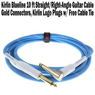 Kirlin Blueline Right Angle 10ft Guitar Instrument Cable Patch Cord +Cable Tie