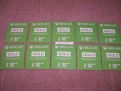 QUANTITY OF 10 - Xbox Live 2 Day Trial Gold Membership Code DLC 360 Xbox One
