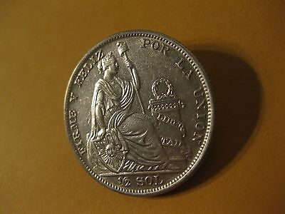 1935 Peru SILVER  1/2 SOL   AU/UNC  large silver coin    LIBERTY  sweeet