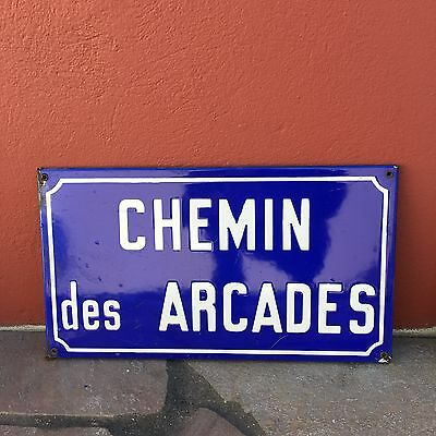 Old French Street Enameled Sign Plaque - vintage arcades