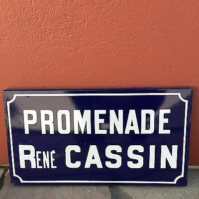 Old French Street Enameled Sign Plaque - vintage cassin