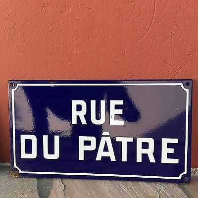 Old French Street Enameled Sign Plaque - vintage patre 2