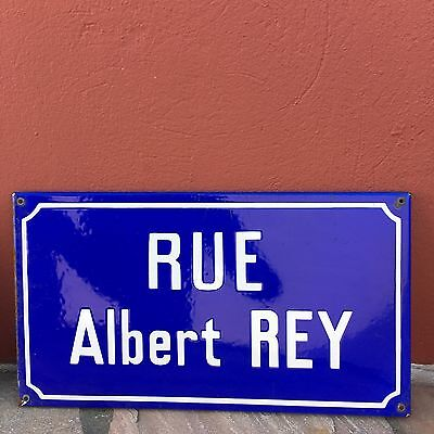 Old French Street Enameled Sign Plaque - vintage rey