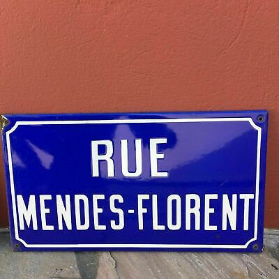 Old French Street Enameled Sign Plaque - vintage mendes