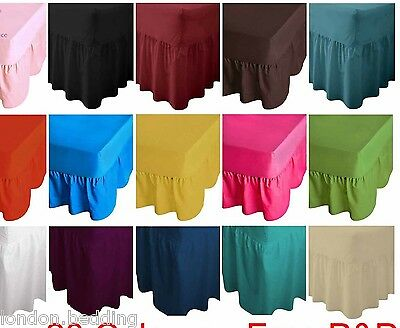 Luxury Plain Dyed Fitted Valance Sheet Poly-Cotton Bed Sheet In All Size