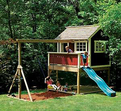 Kids Outdoor Wooden Playhouse Swing Set -Detailed Plan!!!