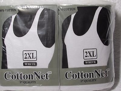 12X CottonNet Men's 100% cotton Heavy Weight Ripped Muscle Shirt Tank Top white
